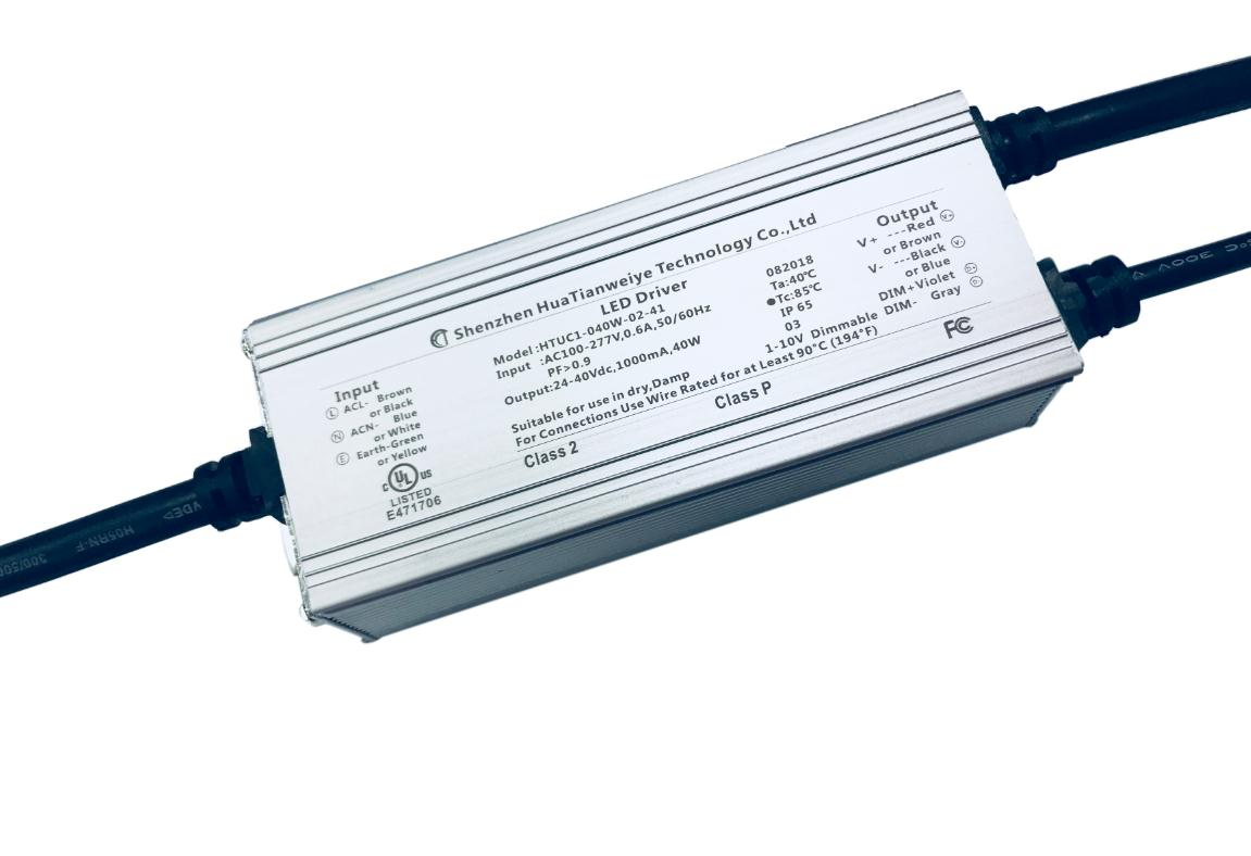 40W IP65 1-10V dimming driver UL