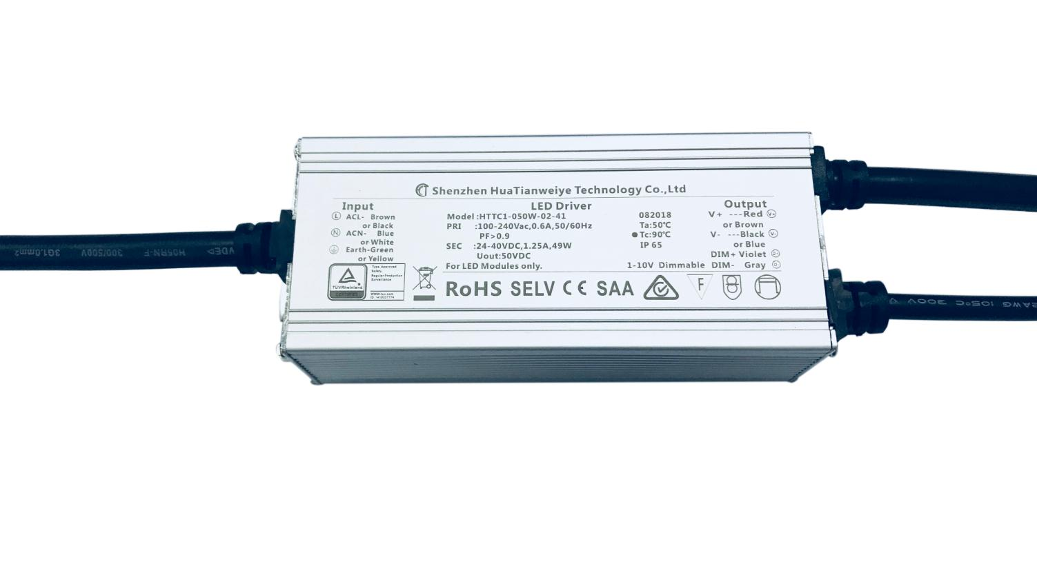 50W IP65 1-10V dimming driver TUV SAA CE