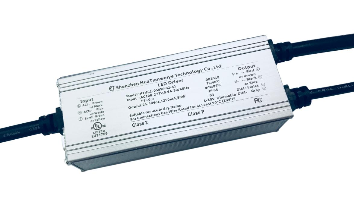 50W IP65 1-10V dimming driver UL