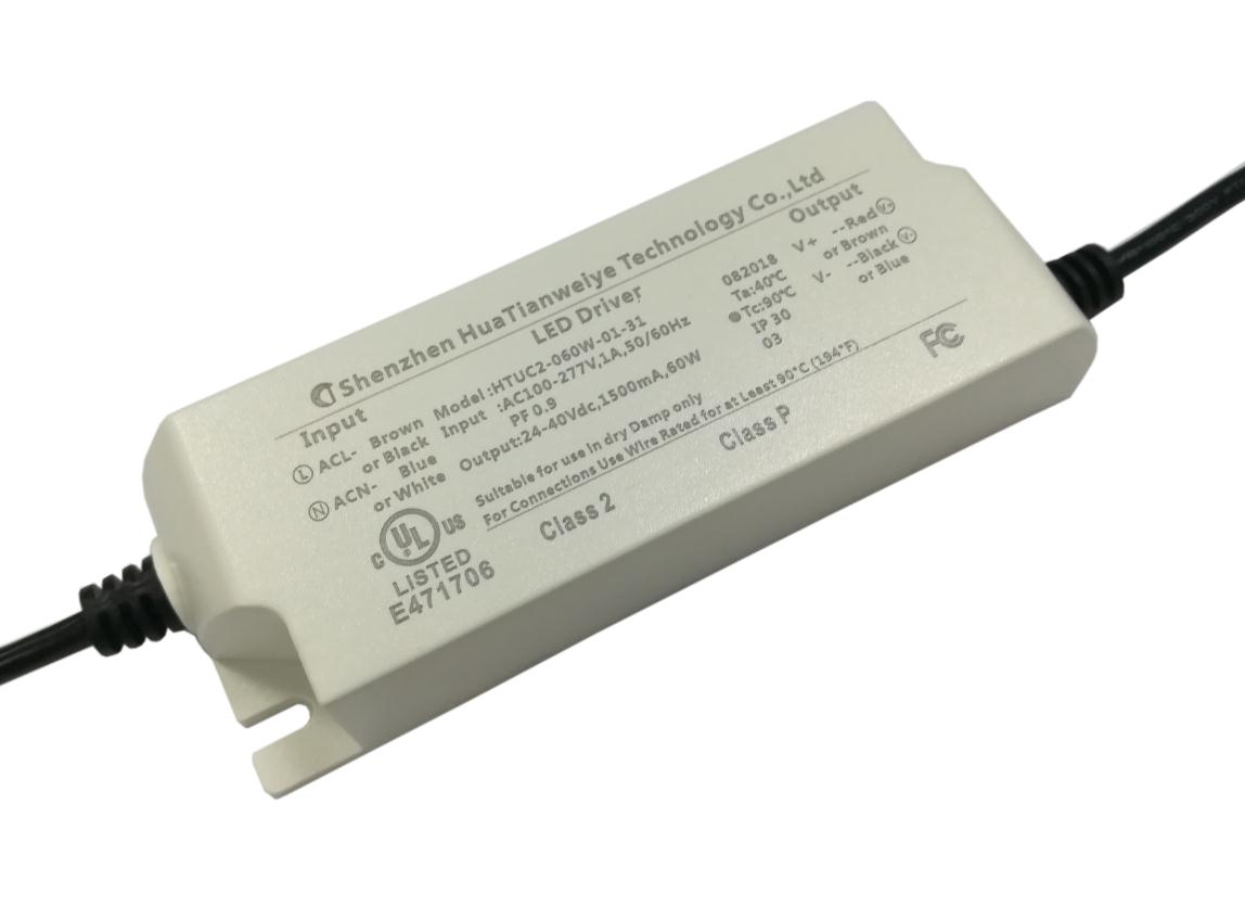 60W Indoor led constant current driver with UL cUL fcc 1500mA